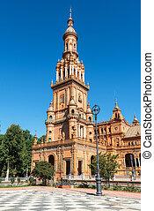Famous Plaza de Espana, Sevilla, Spain. Tourist attraction landmark.