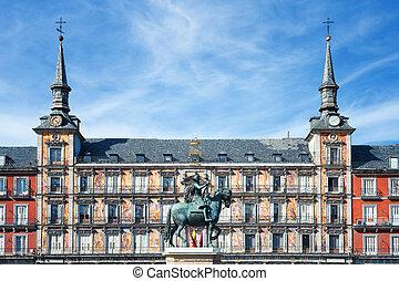 Famous Plaza Mayor in Madrid, Spain