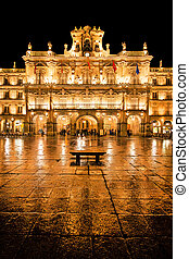 Famous Plaza Mayor in Salamanca at night, Castilla y Leon,...