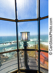famous Point Arena Lighthouse in California - view from...