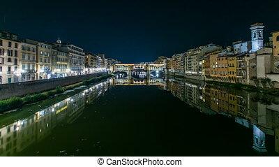 Famous Ponte Vecchio bridge timelapse over the Arno river in...