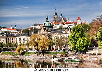 Prague Castle with Vltava river in Czech Republic