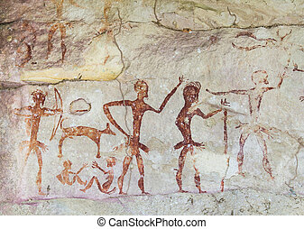Famous prehistoric rock paintings of Thailand (cave, painting, prehistoric)