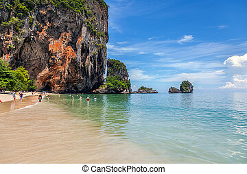 Famous Railay beach in the Thai province of Krabi.