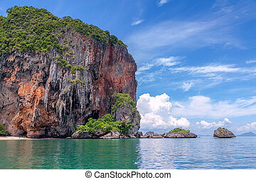 Famous Railey beach in the Thai province of Krabi.