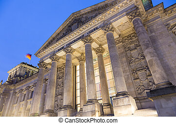 Famous Reichstag building, seat of the German Parliament , Berlin Mitte district, Germany.