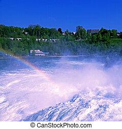 Famous Rhein Falls (Schaffhausen, Switzerland) - Rainbow on...