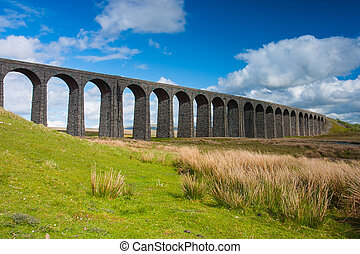 Famous Ribblehead Viaduct in Yorkshire Dales National...