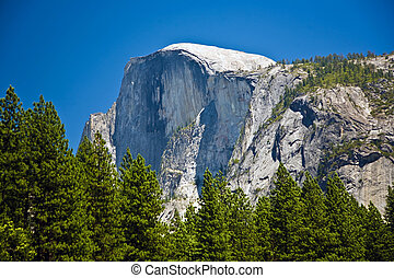 famous rock formation half Dome in the romantic valley of yosemite park