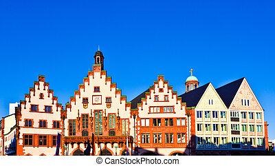 famous Roemerberg in Frankfurt, the former historic city...