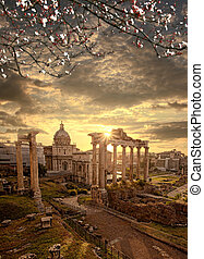 Famous Roman ruins with blossomed tree in Rome, Capital city of Italy