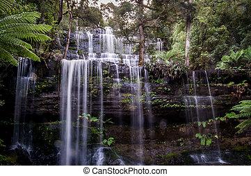 Famous Russell Falls in Mount Field National Park, Tasmania, Australia