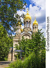 famous russian orthodox church at the Neroberg in Wiesbaden, Germany