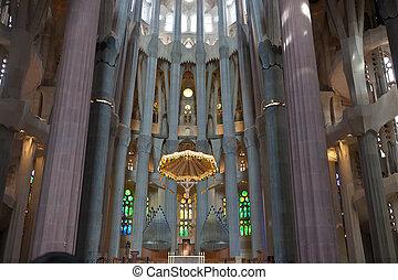 Sagrada Familia - Famous Sagrada Familia cathedral interior,...