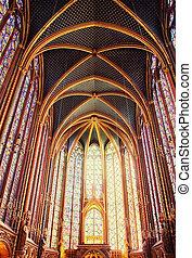 Famous Saint Chapelle in Paris, France - Splendid interior...