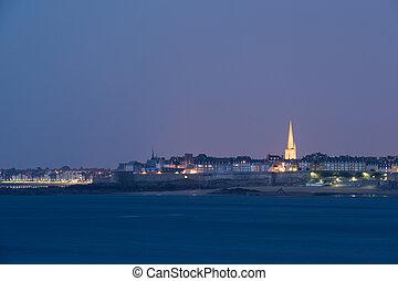 Famous Saint-Malo, medieval walled port city in Brittany