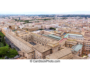 Famous saint peter square in vatican and aerial view of the city