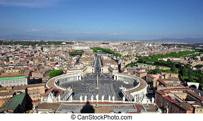 Famous Saint Peter's Square in Vatican - Rome, Italy. Famous...