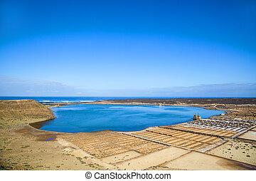 famous salinas de Janubio in Lanzarote, Canary islands,...