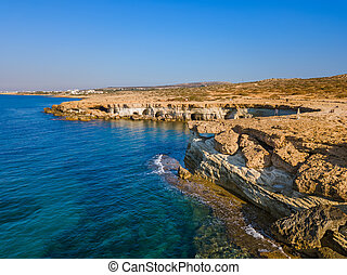 Famous Sea Caves in Ayia Napa Cyprus - aerial view - nature ...