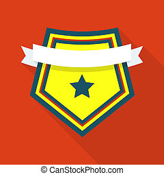 Famous shield icon, flat style