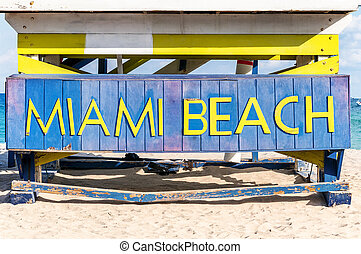 Famous sign on the beach in Miami