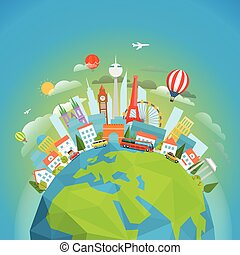 Famous signts around the world. Travel concept vector...