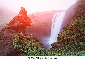Famous Skogafoss waterfall on Skoga river. Iceland, Europe