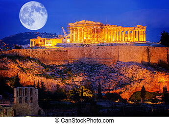 Famous skyline of Athens, Greece