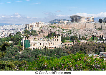 Famous skyline of Athens, Greece - Famous skyline of Athens...