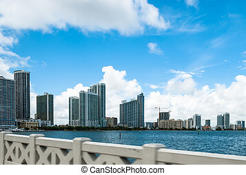 Famous skyline of Miami Beach in Florida against cloudy sky