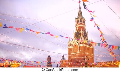 Spasskaya Tower of the Moscow Kremlin behind New Year and Christmas decoration on the Red Square