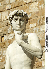 famous statue of David by Michelangelo, Florence, Italy,...