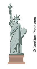 Famous Statue of Liberty with torch isolated illustration