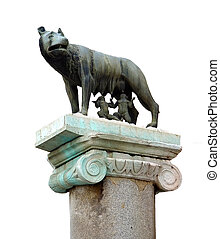 She-wolf breast-feed Romulus and Remus. Place of foundation of Rome. White background