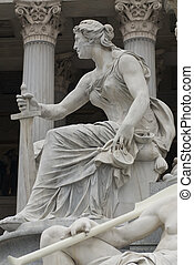 the famous sculptures around the austrian parliament dedicated to the greek goddess pallas athena