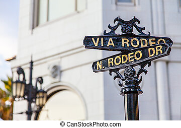 Rodeo Dr - Famous steetsigh of Rodeo Dr in Los Angeles, the ...
