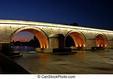 Stone Bridge - Famous Stone Bridge in Skopje - night shot