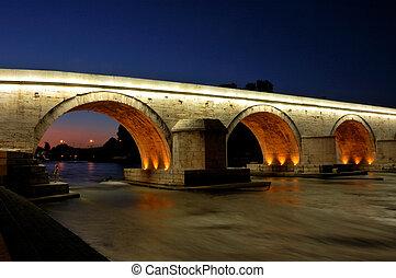 Famous Stone Bridge in Skopje - night shot