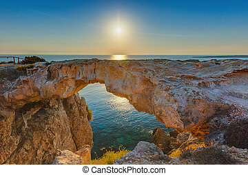 Famous stone Sin Bridge at sunrise in Ayia Napa Cyprus - ...