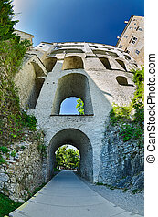 famous storey bridge in Cesky Krumlov - Czech Republic