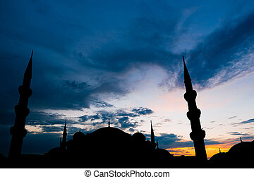 Famous Sultanahmet or Blue Mosque in Istanbul city at sunset