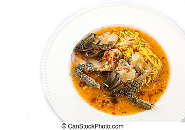 """Famous Thai food, """"Yum poo ma"""" spicy mango salad with blue crab"""