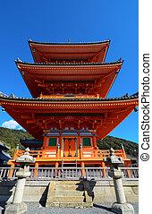 Famous three-story pagoda at Kiyomizu-dera in Kyoto, Japan