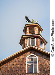 Famous timber church on Chiloe island is a distinctive examples of Chilote architecture (Unesco world heritage), Chile