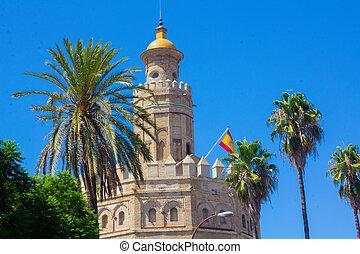 famous Torre del Oro in Seville, Spain