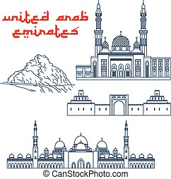Architectural and nature tourist attractions of United Arab Emirates symbols with Grand Mosque in Dubai, Sheikh Zayed Palace Museum, Jumeirah Mosque and scenic Hafeet Mountain landscape. Thin line style
