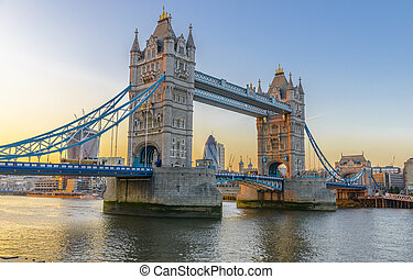Famous Tower Bridge at sunset, London, England - Tower...