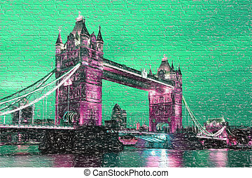 Famous Tower Bridge in Artwork style in London, England