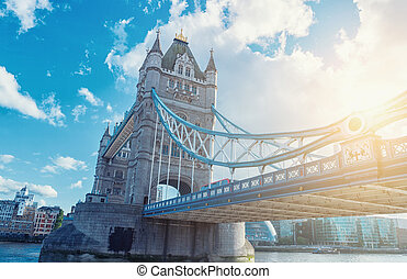 Famous Tower Bridge in the evening, London, England Tower Bridge, London, UK